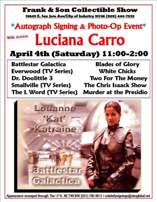 Promo for Luciana's appearance at Frank & Son Collectible Show