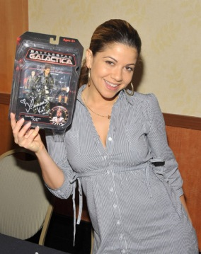 Luciana and her action figure at Hollywood Show