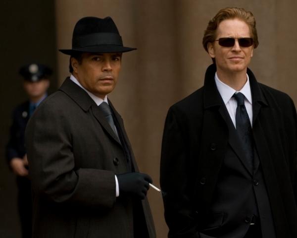 Caprica leads Esai Mprales (Joseph Adama) and Eric Stoltz (Daniel Graystone)