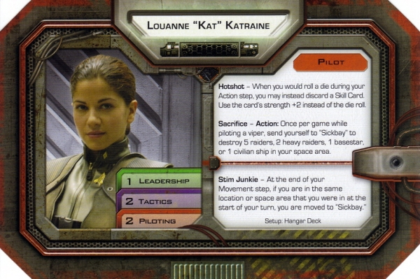 Kat character sheet (Battlestar Galactica board game)