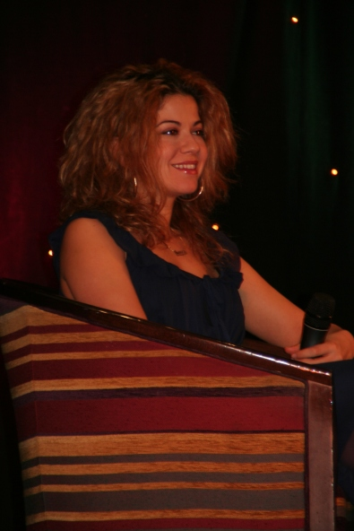 Luciana during a Q&A at the Mission Starfury convention