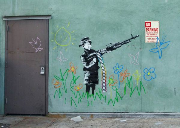 Banksy's Crayon Boy in Westwood, Los Angeles